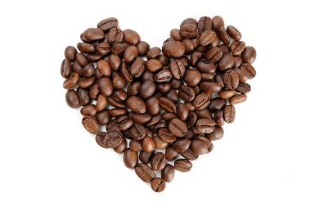 heart shaped roasted coffee beans photo