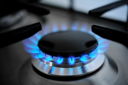gas burning from a kitchen gas stove photo