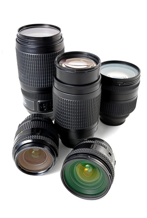 many lenses isolated on white background photo