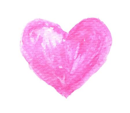 corazon rosa: La forma del coraz�n de la acuarela Foto de archivo