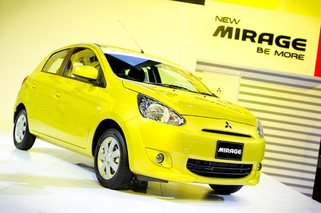 NONTHABURI, THAILAND - DECEMBER 03: The Mitsubishi Mirage at Mitsubishi booth in the 29th Thailand international Motor Expo on December 03, 2012 in Nonthaburi, Thailand. Stock Photo - 16943829