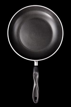 nonstick: black nonstick frying pan on black background