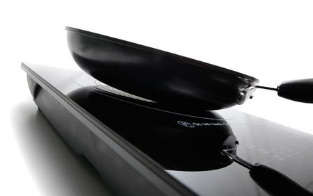 antiaderente: nero antiaderente padella sul fornello elettrico