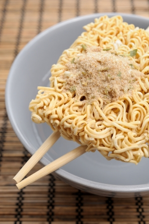 monosodium glutamate: dry instant noodles ready for cook