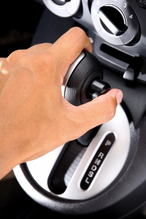 men hand on automatic gear shift Stock Photo - 21605462