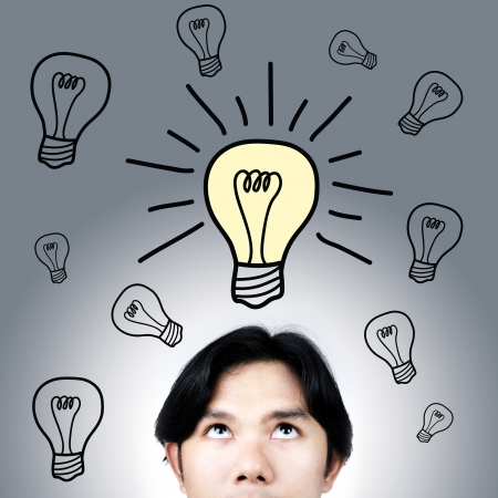 young asian man have an idea
