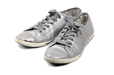 closeup vintage silver shoes on white background photo