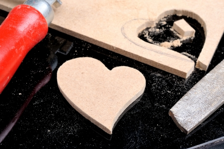 the man made heart shape from plank photo