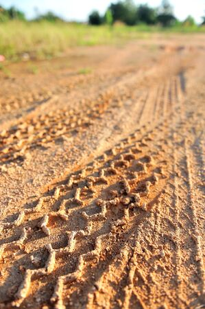 detail of tyre tracks in sand Stock Photo - 24262791