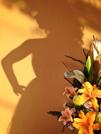 puppet woman: Shadow of woman puppet  Stock Photo