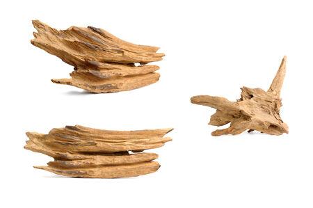 wood log: nice shaped driftwood isolated on white  Stock Photo