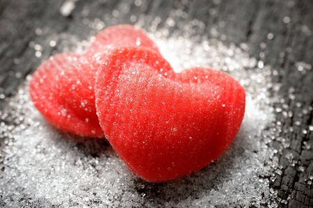 beloved: closeup red heart shaped candies