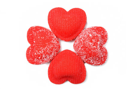 closeup red heart shaped candies photo