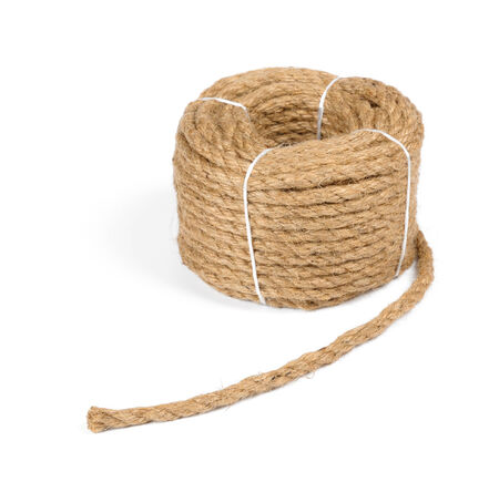 roll of jute rope isolate on white background photo
