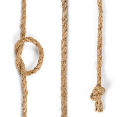 closeup jute rope isolate on white background photo