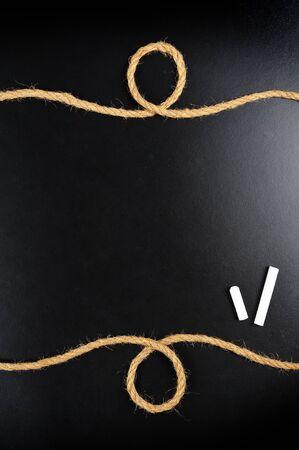 blank blackboard with rope frame