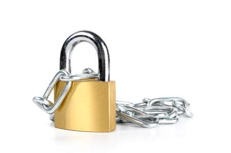 brass padlock and chain isolated on white background photo
