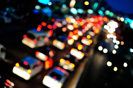 abstract out of focus of evening traffic. photo