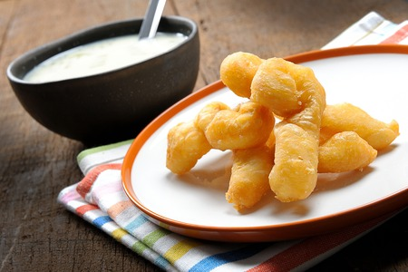 Deep fried dough stick and soybean milk in Thailand photo