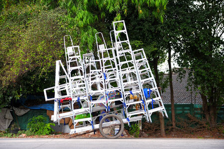 pushcart: aluminium ladder on pushcart ready to delivery in Thailand