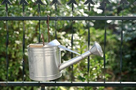 impiccata: annaffiatoio appeso sulla recinzione