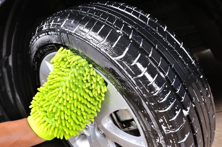 detailing: washing car wheel and tire