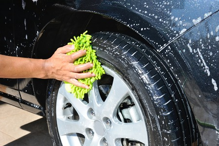 washing car wheel and tire photo