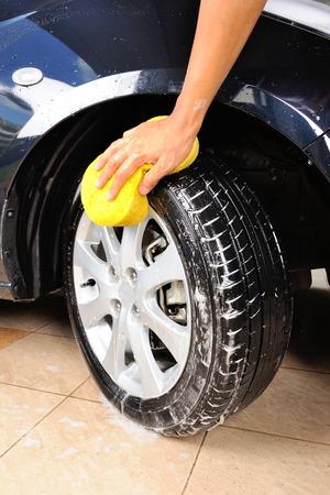 washing car wheel and tire photo