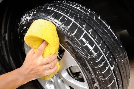 washing car wheel and tire