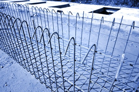 reinforce iron cage in a construction site photo
