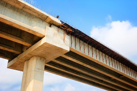 strong base: closeup structure of bridge under construction