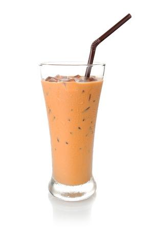 iced milk tea, famous drink in Thailand 스톡 콘텐츠