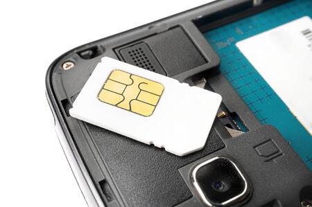 SIM card on the smart phone photo