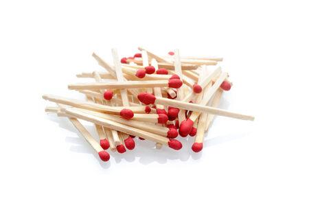 houten brandbare wedstrijden met rood hoofd Stockfoto