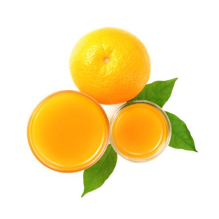 Ripe orange and cup of orange juice photo