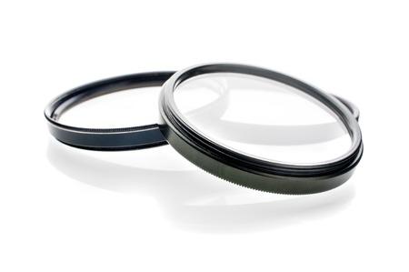 polarization: closeup UV filters isolated on white background
