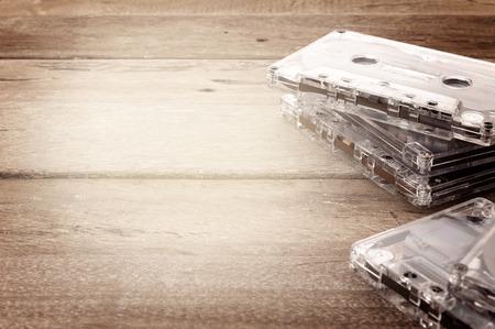 closeup detail of clear plastic tape cassette photo