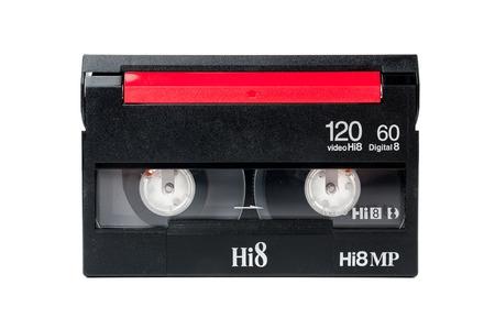 closeup detail of 8mm video cassette