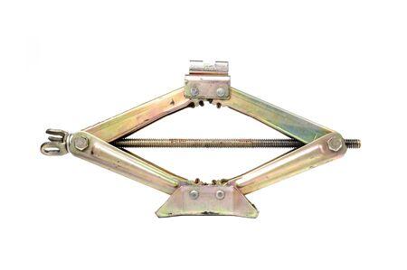 screw jack: closeup automotive jack isolated on white background