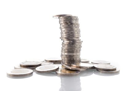 remuneration: heap of Thai coins isolated on white background