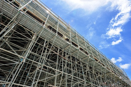 Scaffolding as safety equipment on a construction site.
