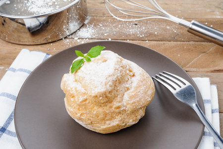 closeup fresh and delicious choux cream photo