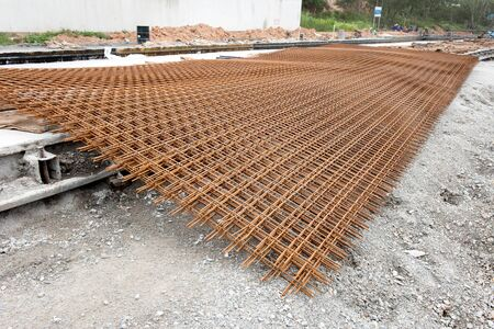 reinforce: reinforce iron cage in a construction site
