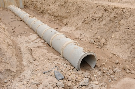 culvert: Concrete drainage pipe under construction