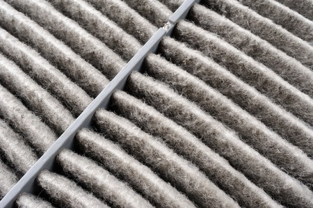 dirty car: dirty air filter for car, automotive spare part Stock Photo