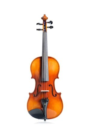 violin background: closeup new classical violin on white background