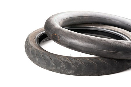 swerve: closeup old motorcycle rubber tires Stock Photo