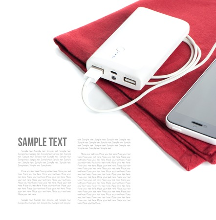isolate white power bank for charging mobile devices