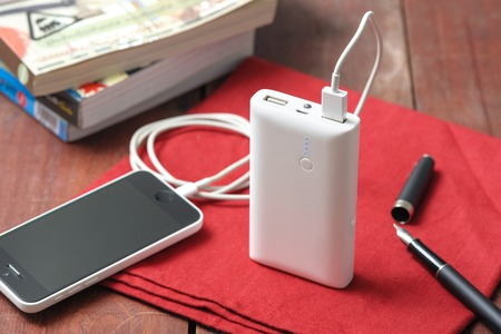 power tool: isolate white power bank for charging mobile devices
