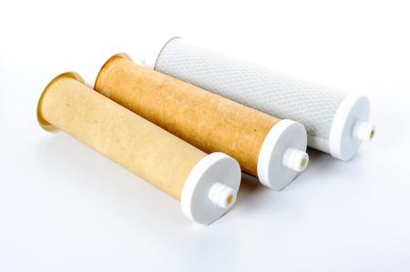 filtration: Tipo de �rbol de filtro usado agua, resina de intercambio de iones, bloque de carb�n activado y la membrana de filtraci�n Ultra Foto de archivo